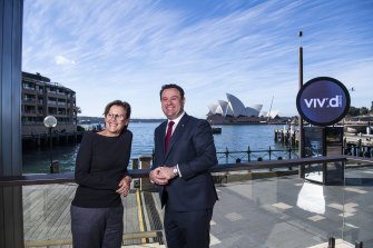 Vivid director Gill Minervini with Minister Stuart Ayres at the unveiling of the 2021 program.