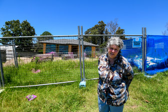 Kathleen Glover at the family property in Mogo, which is expected to be rebuilt by June.