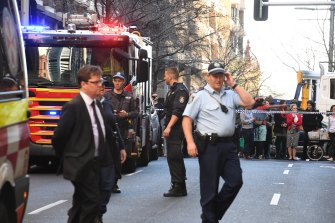 Emergency services on the scene in the Sydney CBD on Tuesday afternoon.
