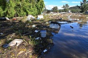 Flood devastation at St George's Caravan park on the Hawkesbury River.