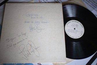 A signed white label test pressing of Led Zeppelin's debut album.