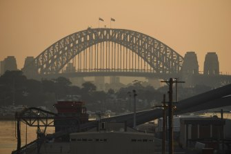 Haze lingers over Sydney.