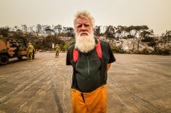 Historian and CFA volunteer Bruce Pascoe has spent the past two days clearing fallen trees from local roads.