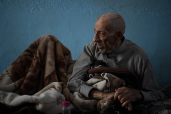 Abdul Rahman al-Amo, 85, refuses to leave his home in Kara Kwea village. Many of his neighbours have already fled.