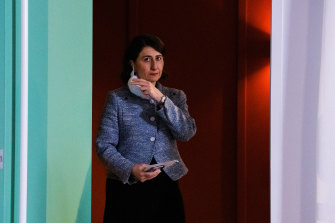 Gladys Berejiklian prepares to give her daily update on COVID-19 on Saturday.