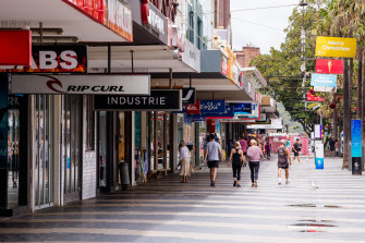 Sydney's normally busy Manly Beach corso on Tuesday, where stay-at-home orders are in place.
