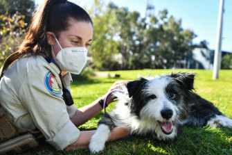 The RSPCA's Lisa Calleja with rescued dog, Myrtle.