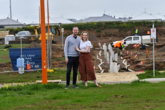 New home buyers Amy Pullen and partner James Cowey at the Mount Duneed estate where they have bought a block of land.