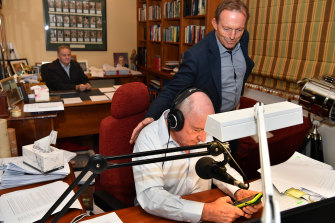 NSW One Nation MP Mark Latham and former prime minister Tony Abbott join broadcaster Alan Jones during his final breakfast show for 2GB from his home at Fitzroy Falls in the Southern Highlands on Friday.