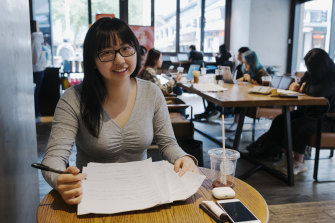 Tiffany Nie and other students have been preparing for HSC exams by studying at Starbucks in Chatswood from 7.30am every day.