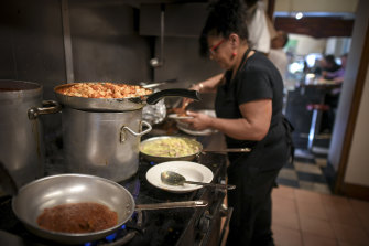 Head chef Lucia D'elio kneads hundreds of pillows of gnocchi by hand for gnocchi day every Friday.