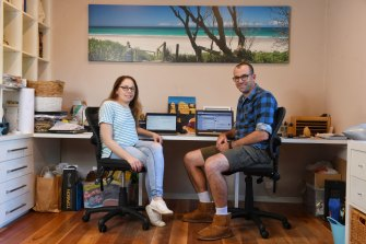 Brooke Meenhan and Jase King are both working from home in Frenchs Forest.