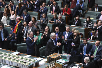 Turnbull and fellow Coalition MPs applaud as the House of Representatives votes to legalise same-sex marriage on December 7, 2017.
