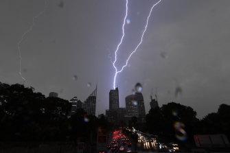A lightning strike on the CBD on Friday.