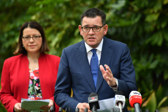 The Premier, Daniel Andrews, and the Minister for Health, Jenny Mikakos, make anannouncement on COVID-19 atParliament rear garden.