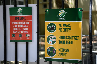 Signs at Newlands in Cape Town, where the first ODI was abandoned on Sunday.