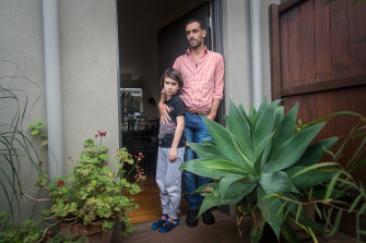 Miguel Bernardo, with his son Edward, is facing eviction after losing his job as a chef when the industry shut down due to coronavirus.