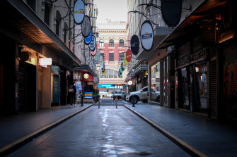The empty streets of downtown Melbourne on Thursday morning.