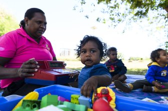 The Moriaty Foundation's Indi Kindi is a program for children in remote Aboriginal communities, integrating health, wellbeing, education and development. Educator Deandra McDinny with Lloyd, 11 months.