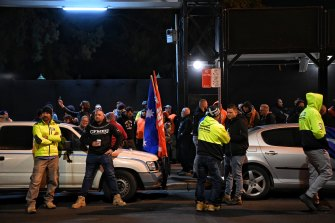 CFMMEU members and community members picketed Willow Grove in Parramatta on Tuesday morning.