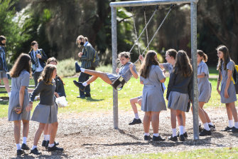Albert Park College students at Gasworks Park on Tuesday. Resident complaints mean they might be restricted to a much smaller section of the park in the future.
