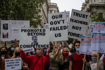 Students, teachers and parents last week protested about downgraded A-level results.