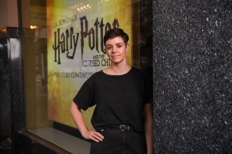 Allee Richards at the Princess Theatre, where she never tires of watching <i>Harry Potter and the Cursed Child</i>.
