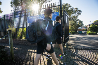 Clemton Park Public School students of essential workers returning to school on Tuesday morning.