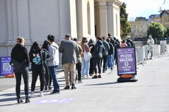 Queues at the vaccination centre in Carlton on Monday.