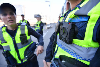 Victoria Police wearing body cameras.