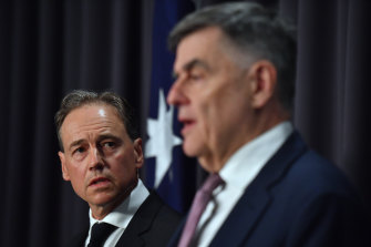Federal Health Minister Greg Hunt and Chief Medical Officer Brendan Murphy address the media on January 31. The following day would prove pivotal.