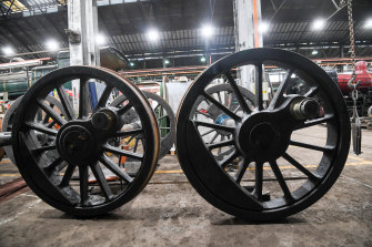 Locomotive wheels at the workshops.
