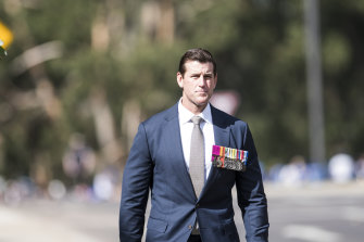 Ben Roberts-Smith leading Canberra's Anzac Day march last year.