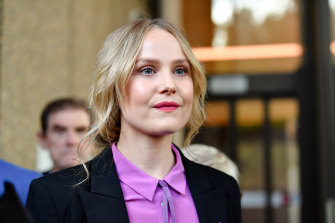 Actor Eryn Jean Norvill leaves the Supreme Court  in April.