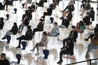 Thousands of Year 12 HSC students have been vaccinated at Qudos Arena.