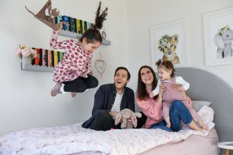 Ellie Gurgiel, husband Josh and daughters Maisie, 4, and Cleo, 18 months.
