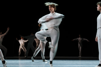 Dancers from The Australian Ballet perform the dress rehearsal for Watermark, part of the New York Dialects, a triple bill at the Sydney Opera House.