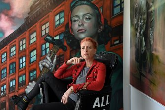 Kathrin Longhurst with some of the work from her upcoming show that recalls her childhood in East Germany.