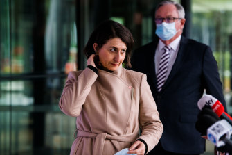 NSW Premier Gladys Berejiklian and Health Minister Brad Hazzard at this morning's press conference.