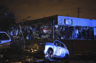 One of many buildings that was damaged in east Nashville when a tornado hit early on Tuesday morning.