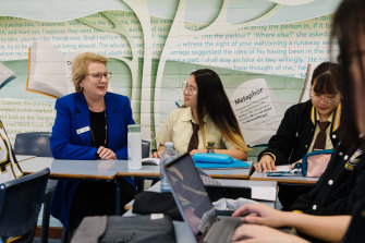 Principal Kathleen Seto chats to HSC students at Fairvale High, one of NSW's new ambassador schools.