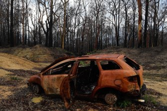 A burnt car that had been previously abandoned sits in Crowdy Bay National Park, near Johns River.