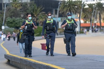 Police are patrolling Wednesday at St Kilda Beach.