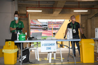 The testing area at Suncorp Stadium.