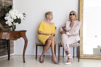 Carla Zampatti (right) and Quentin Bryce at Zampatti's Sydney home on Tuesday.