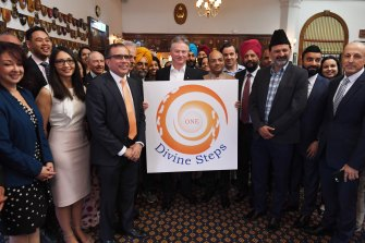 Steve Waugh with part of Sydney's Sikh community announcing the Divine Steps festival.