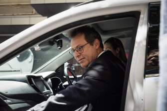 Joel McIlroy leaves court in Sydney on Tuesday.