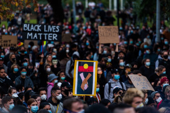 Protesters at the Black Lives Matter rally in Sydney on Saturday.