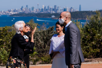 The couple were allowed five guests at their wedding, in addition to their celebrant, photographer and witnesses.