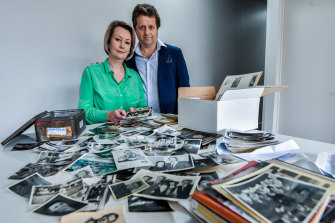 Author Sue Smethurst, husband Ralph Horowitz and the photos that rekindled the memories of Ralph's late grandmother Mindla.